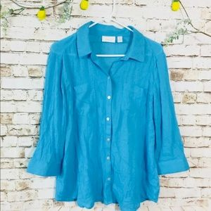 Chico's large Sz 2 blue button up blouse